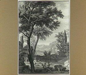 Arcadisch heuvellandschap met figuren