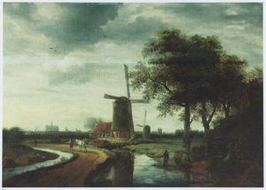 Gezicht op Haarlem met de St. Bavo vanaf de Schalkwijkerweg