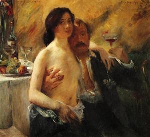 Zelfportret met Charlotte Berend en een glas champagne