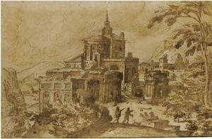Italianiserend landschap met een ruïnecomplex