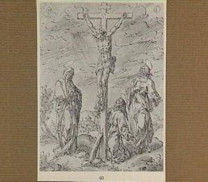 De kruisiging met Maria, Johannes de Doper en de Heilige Franciscus