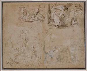 De val onder het kruis; De dood van een heilige; Christus aanbeden door vier figuren; De rust op de vlucht naar Egypte