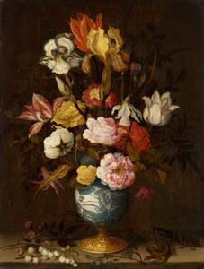 Wan Li-vaas met bloemen
