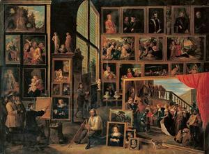 David Teniers II schildert de schilderijengalerie van aartshertog Leopold Wilhelm te Wenen