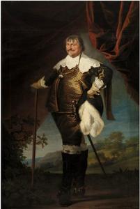 Portret van Christiaan IV (1577-1648) met een landschap op de achtergrond