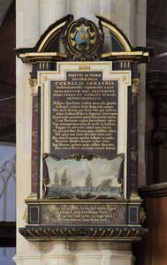 Grafmonument voor Cornelis Janszoon de Haen (1580-1633), met tekst in Latijn, vers in Nederlands en een voorstelling van de zeeslag tegen de Duinkerker kapers
