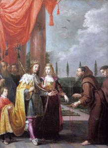 Dominicus Jezus Maria Ruzzola, de stichter van de Orde van Karmel, biedt keizer Ferdinand II en zijn vrouw Eleonora van Mantua de scapulier van zijn orde aan