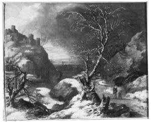Winterlandschap met twee reizigers