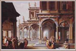 Classicistisch paleis met de geschiedenis van Jefta en zijn dochter (Richteren 11:34)