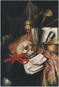 Vanitasstilleven met bladmuziek, blokfluit, horloge, schedel en andere voorwerpen op een gedekte tafel
