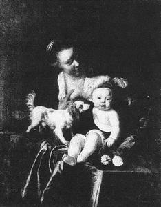 Moeder met kind en Hond