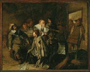 Plunderende soldaten in een schuur