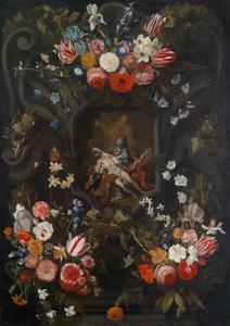 Bloemen rond een stenen cartouche met een Pieta-voorstelling