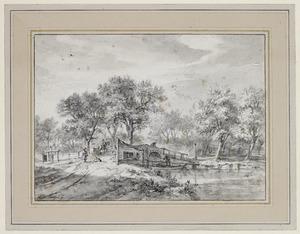 Landschap met figuren bij een brug