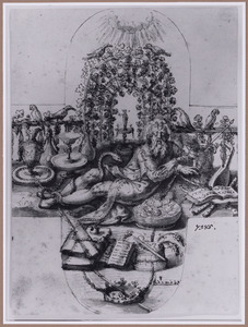 Geketende liggende man omringd door aardse goederen