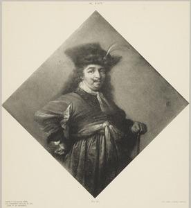 Portret van een man met een halsberg en een wandelstok