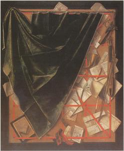 Trompe-l'oeil: brievenbord met viool, pistool en links een gordijn