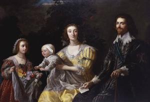 Portret van George Villiers, 1st Duke of Buckingham (1592-1628) met zijn gezin