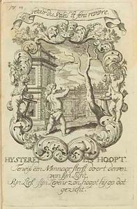 Allegorische voorstelling met amor, anker en dode boom, in een cartouche