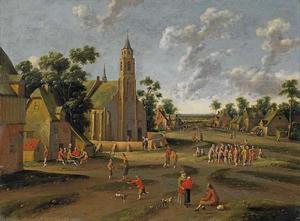 Dorpsgezicht met boeren voor een kerk
