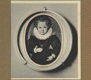 Portretminiatuur van een onbekend kind met een bloem