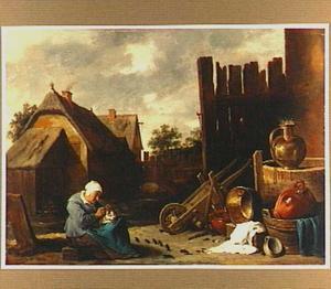 Boerenerf met oude vrouw die een kat vlooit terwijl aan aantal ratten toekijkt