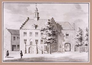 Stadhuis en IJsselpoort te Montfoort gezien vanuit de stad