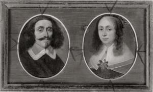 Verzamellijst met miniatuurportretten van een man en een vrouw