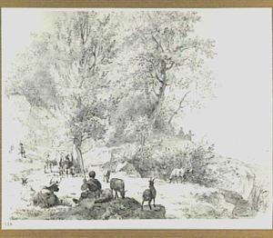 Heuvellandschap met rustende herders en vee