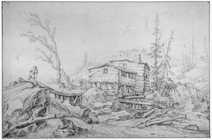 Een blokhut bij samenvloeing van twee bergbeekjes