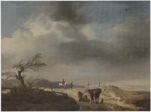 Duinlandschap met figuren die sprokkelhout op een pakpaard laden en twee jagers