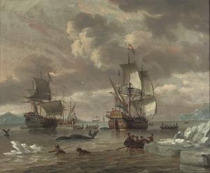Hollandse walvisvaarders op jacht in een arctische zee