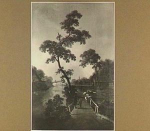 Rivierlandschap met bruggen, figuren en vee