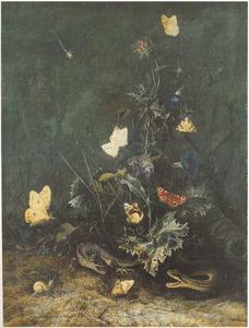 Bosstilleven met vlinders en reptielen