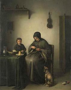 Een vrouw die brood snijdt