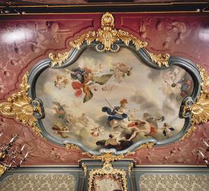 Vijfdelige plafondschildering met allegorie op de vrede, overvloed en kunsten