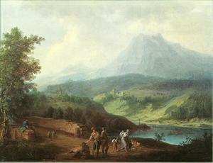 Berglandschap met meer en kasteelruïne