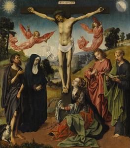 De kruisiging met de HH. Johannes de Doper en Petrus