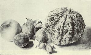 Stilleven met perzik, pruimen, hazelnoten en een meloen