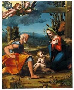 Heilige Familie met Johannes de Doper en engelen