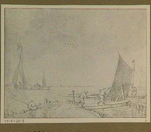 Riviergezicht met boten, houten brug en figuren