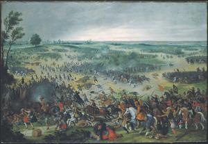 Weids landschap met een cavaleriegevecht