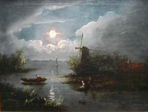 Polderlandschap met molen