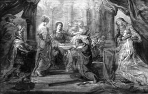 De Heilige Maagd schenkt de Heilige Ildefonso zijn kazuifel in de aanwezigheid van aartshertog Albrecht en de Infanta Isabella