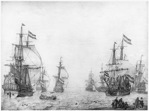 De 'Maagd van Enkhuizen', de 'Gouden Ster' en de 'Edam' in een lichte bries; rechts gaat een vlaggeschip voor anker