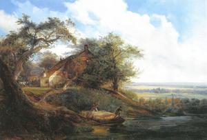 Rivierlandschap met een schip met hooi