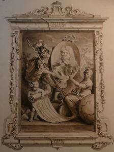 Portret van de dichter  Joan van Broekhuizen (1649-1707 met allegorische figuren