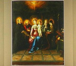 Madonna en kind, omringd door de H. Geest en de HH. Ignatius van Loyola, Petrus, Johannes Evangelista en Antonius Abt