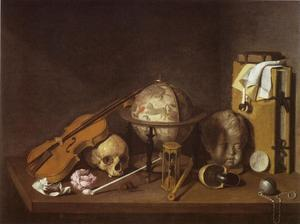 Vanitasstilleven met een viool, een schedel, een hemelglobe, en andere objecten op een tafel