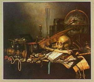 Vanitasstilleven met schedel, wereldbol, schelpen, kettingen en andere attributen